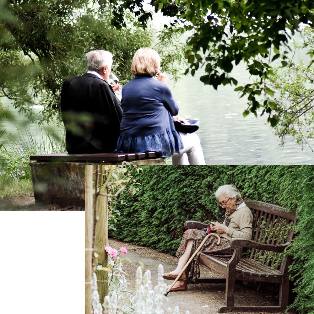 Photos de personnes âgées dans un parc